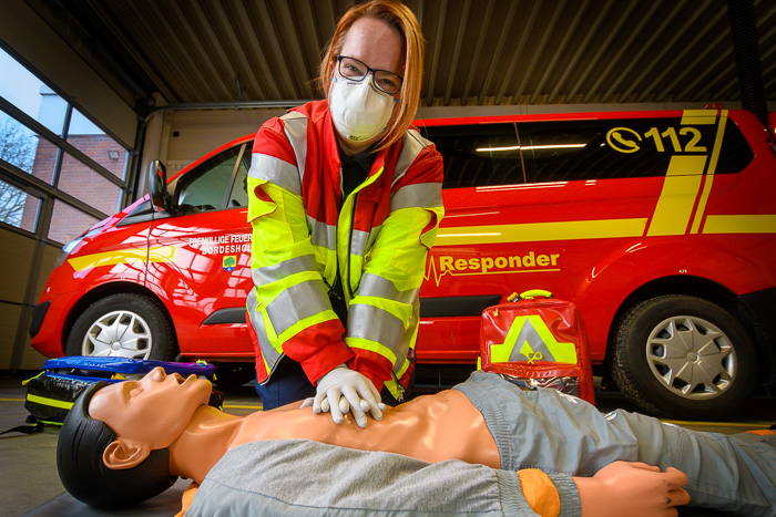 . FFB_Erste Hilfe - Corona am 25.01.2021 in Bordesholm, Vicelinweg 3, Feuerwehr Gerätehaus, Photo: Michael Slogsnat, Bordesholm.